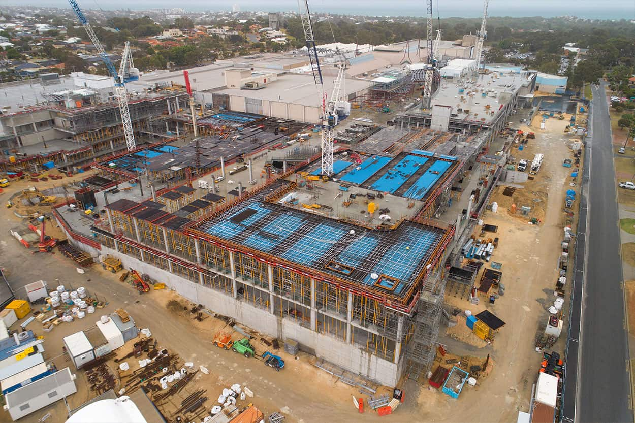 Karrinyup Shopping Centre Aerial drone construction
